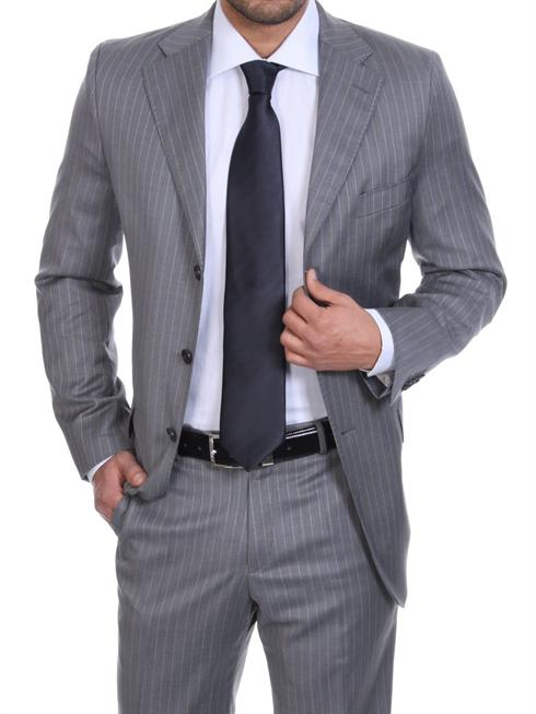 Tessuto Zegna pinstriped grey Suit