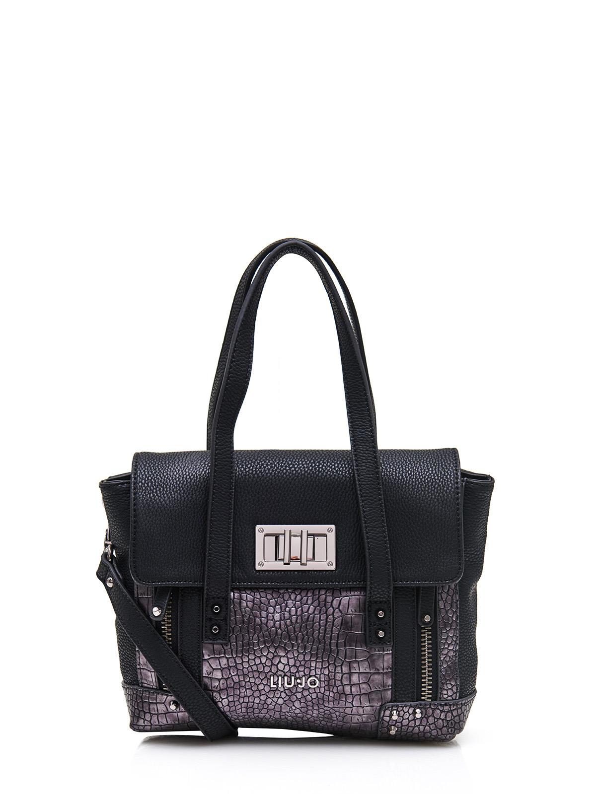 liu jo tasche a65053 k0159 schwarz grau leder ebay. Black Bedroom Furniture Sets. Home Design Ideas